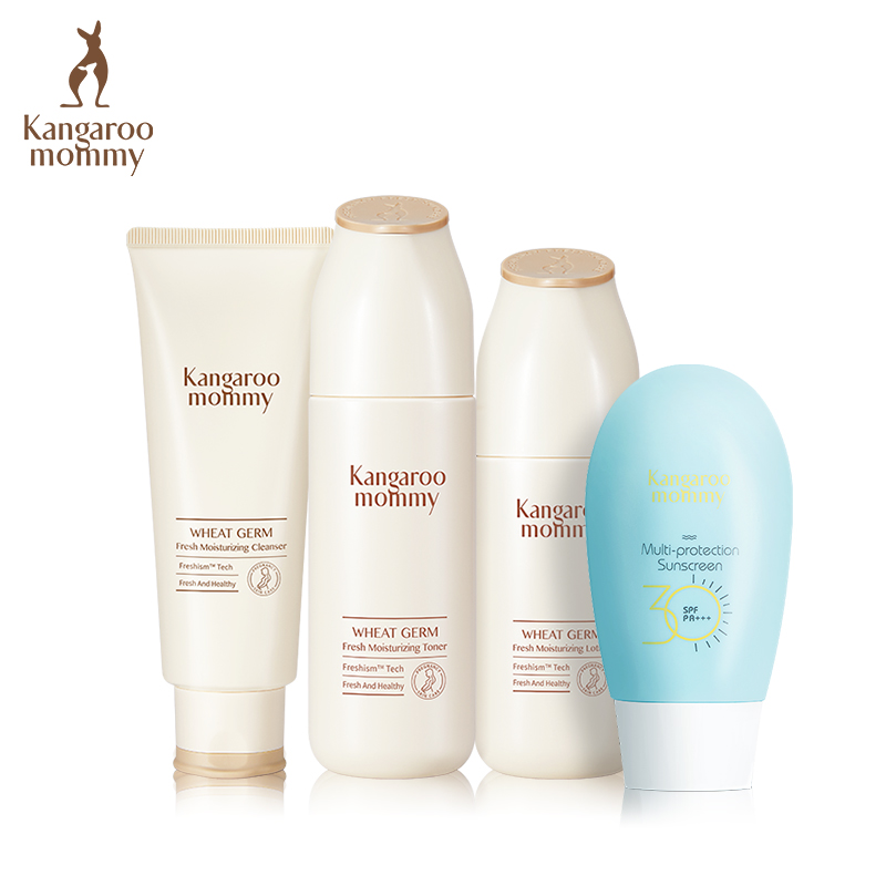 袋鼠妈妈 孕妇可用护肤品套装 孕妇化妆品天然补水保湿防晒套装