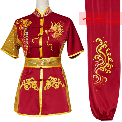 Martial Arts Clothes  Kungfu clothes Short-sleeved Wushu Clothes Embroidered Dragon Long Boxing Competition Clothes Children Performing Gonggong Performance Clothes Dancing Sword Dragon Group Youth