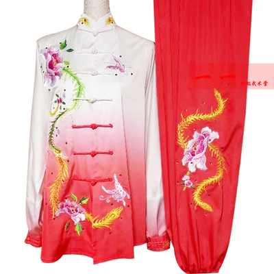 Martial Arts Clothes  Kungfu clothes Dahong Gradual Change Taijiquan Clothes for Men and Women Competition Clothes Embroidery Team Performing Gonggong Performing Clothes