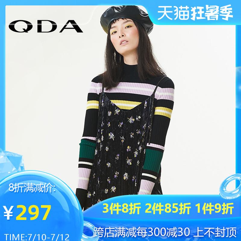 Xin chúc mừng trung tâm mua sắm mùa thu QDA với cùng một đoạn áo len sọc mỏng cổ điển của phụ nữ áo len dệt kim 89411001 - Áo / áo thun