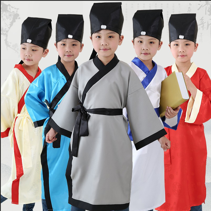 Ancient Children Han Chinese school uniforms boys ethnic costume pupils three words by the disciples rules clothing Confucian clothing