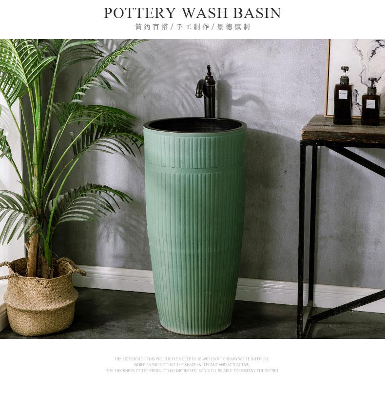 European simple balcony column type lavatory toilet ceramic sink basin floor is suing pond