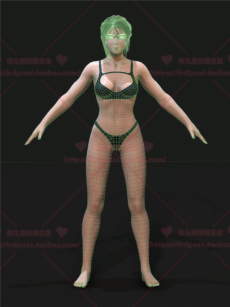 次世代PBR写实卡通女孩角色 3D模型 FBX/Toobag/Substance源文件