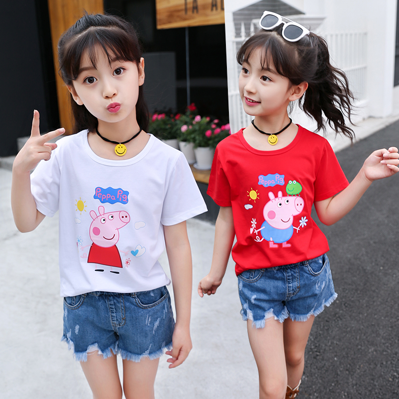 8-9儿童装7女童夏装小猪短袖十岁6中大童T恤12小学生5女孩子穿的4