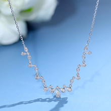 Gem miner 18K white gold small fairy diamond necklace exquisite light luxury lock bone chain female true diamond genuine