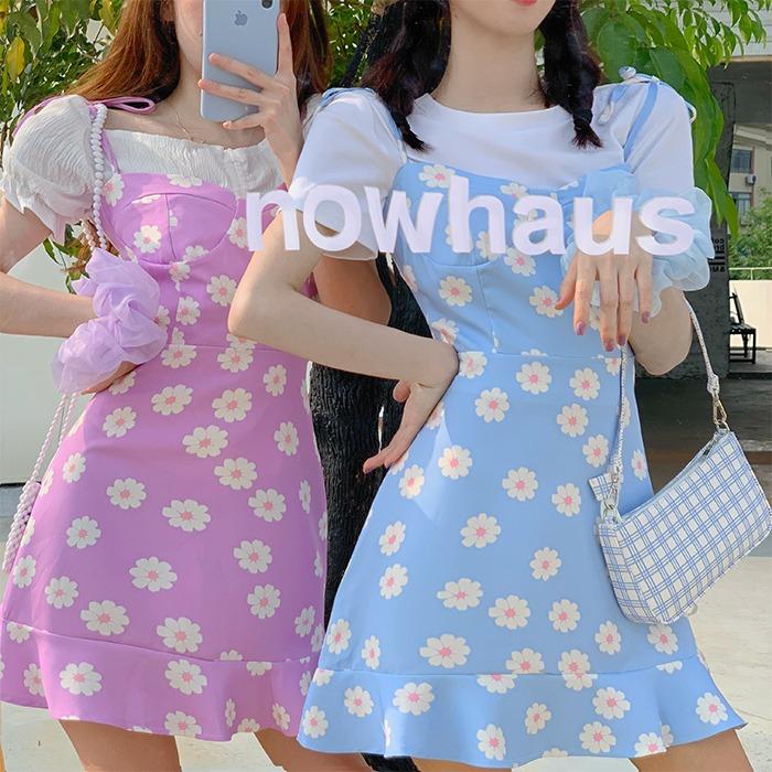 Váy hoa nhỏ Daisy 2020 Váy mùa hè mới của phụ nữ Váy ngắn tay eo Eo mỏng và váy chữ A dài - A-Line Váy