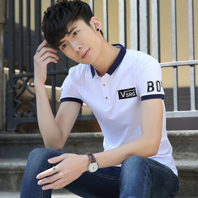 Male t-shirt short-sleeved lapel Slim cotton young men 2017 summer new Korean version of the trend of printing T-shirt male half-sleeved