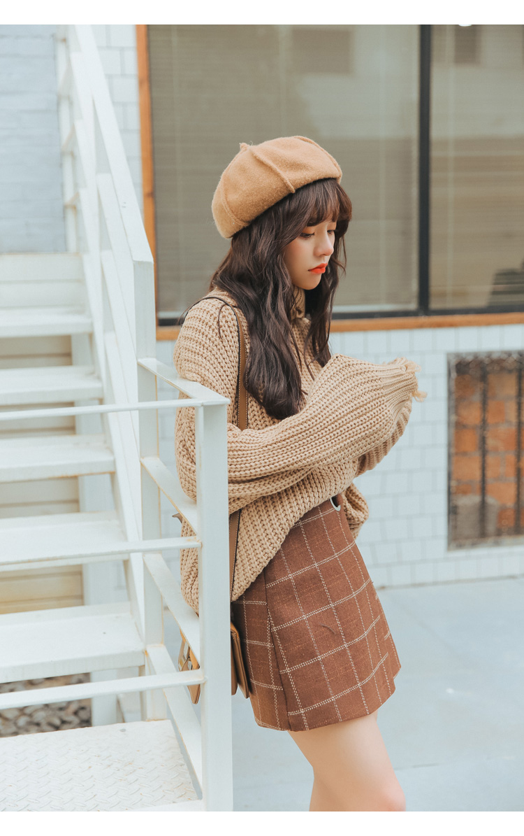 19 Women'S Ulzzang Autumn And Winter Harajuku Thickened Woolen Plaid Retro Skirt Female Cute Japanese Kawaii Skirts For Women 7