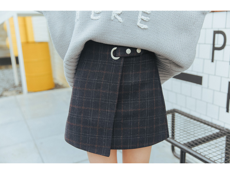 19 Women'S Ulzzang Autumn And Winter Harajuku Thickened Woolen Plaid Retro Skirt Female Cute Japanese Kawaii Skirts For Women 37