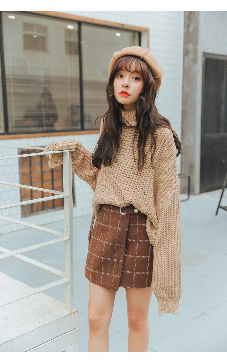 19 Women'S Ulzzang Autumn And Winter Harajuku Thickened Woolen Plaid Retro Skirt Female Cute Japanese Kawaii Skirts For Women 4