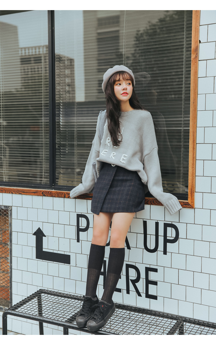 19 Women'S Ulzzang Autumn And Winter Harajuku Thickened Woolen Plaid Retro Skirt Female Cute Japanese Kawaii Skirts For Women 27
