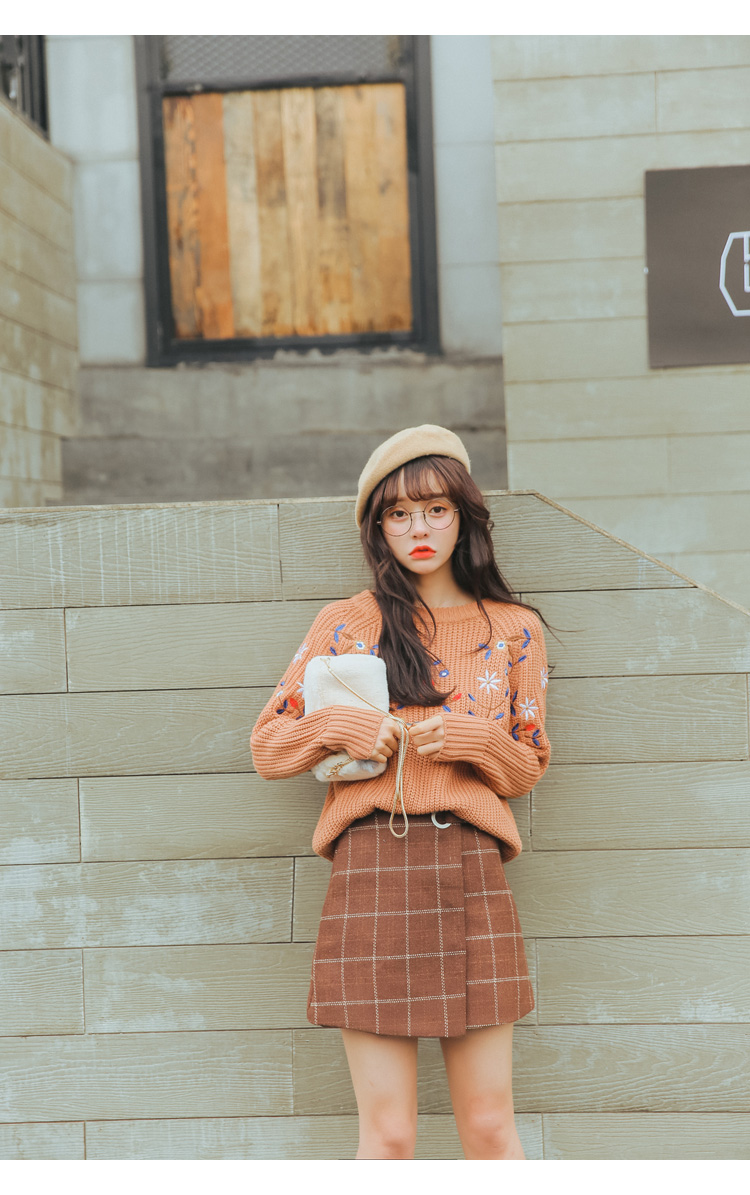 19 Women'S Ulzzang Autumn And Winter Harajuku Thickened Woolen Plaid Retro Skirt Female Cute Japanese Kawaii Skirts For Women 12