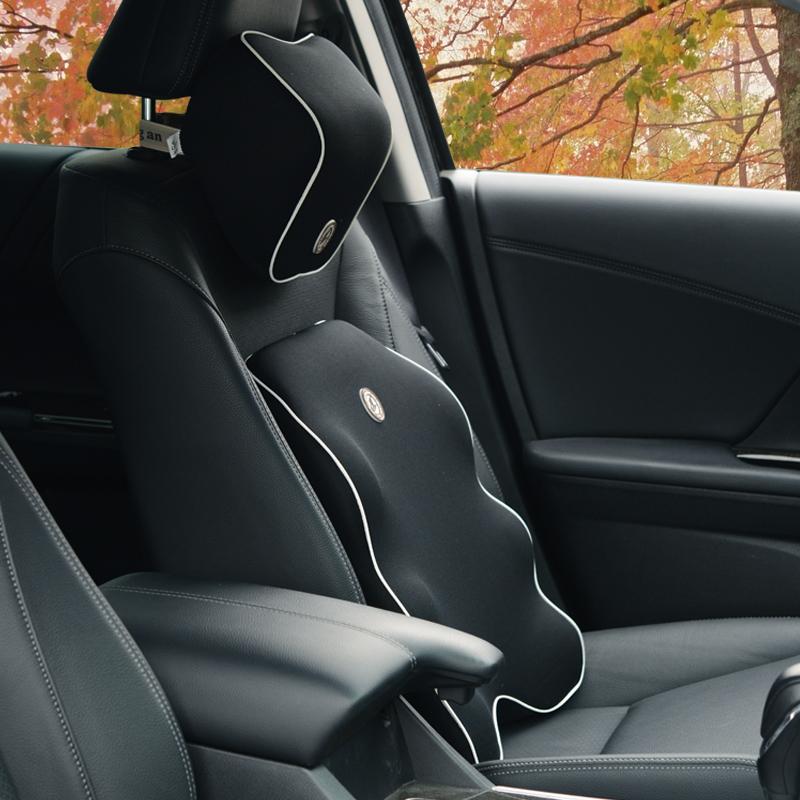 汽车腰靠太空记忆棉头枕套装车载内座椅护垫背的用四季办公室按摩