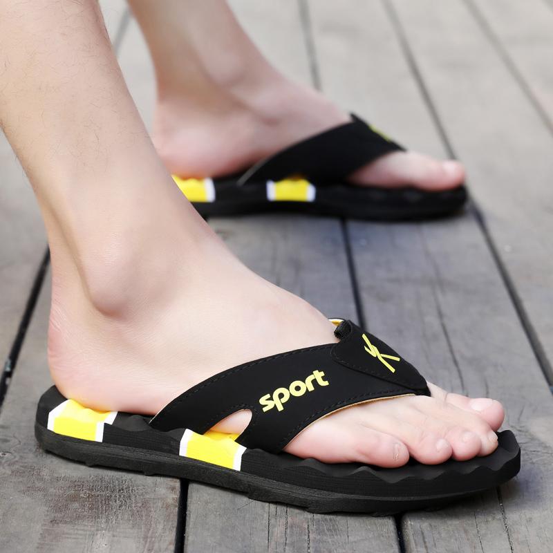 夏季人字拖男士室外夹脚沙滩鞋子韩版时尚个性外穿防滑凉拖鞋男潮