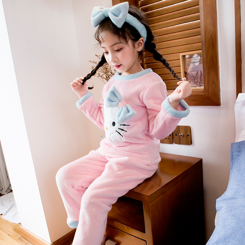 b3c94b0b5c6e USD 33.96  Girls coral velvet pajamas autumn and winter children s ...