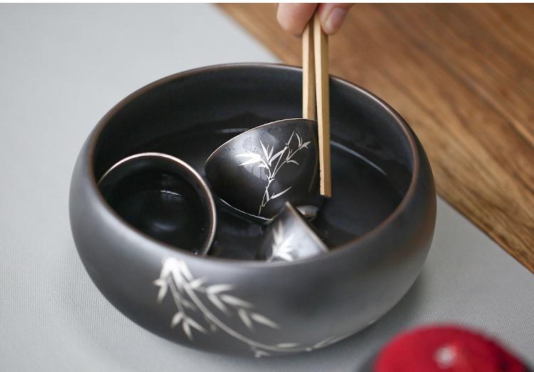 (全場免運)大號茶洗黑釉陶瓷描銀水洗茶渣桶建水功夫茶具零配件水盂 【不二先生】