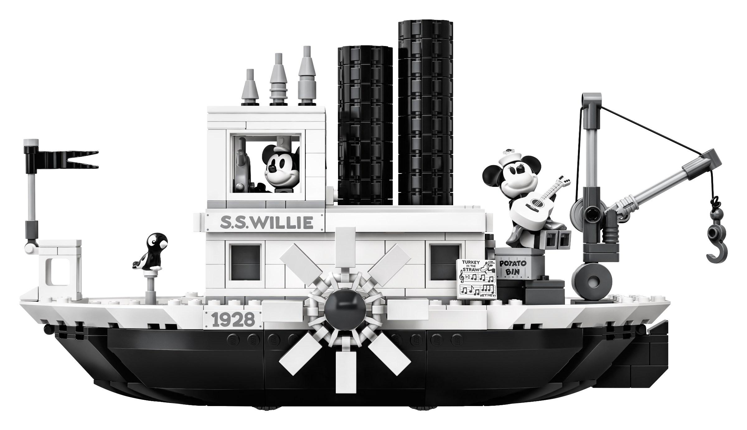 新風小鋪-lego樂高21317迪士尼IDEAS威利號米奇黑白蒸汽船積木拼搭玩具新品