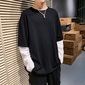 已质检男生假两件新长袖t恤衣服青少年拼接上衣 DS456T
