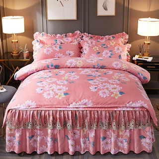 Thickened fleece bed cover bed skirt four-piece wedding set fleece bed single double bed cover 1.8 m 2.0m bed