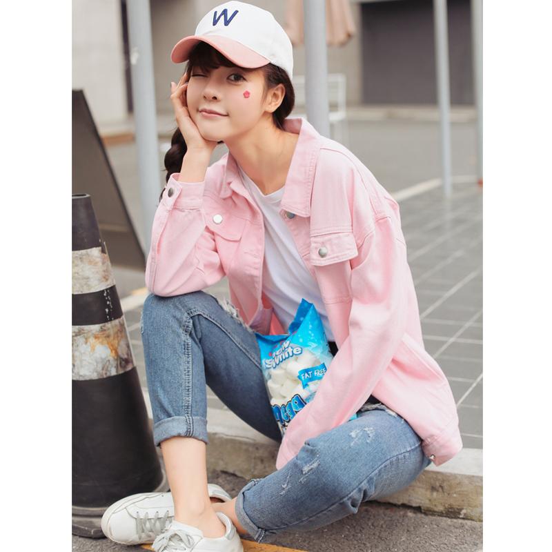 實拍2020春季新款 韓國浪漫粉色單排扣翻領夾克外套