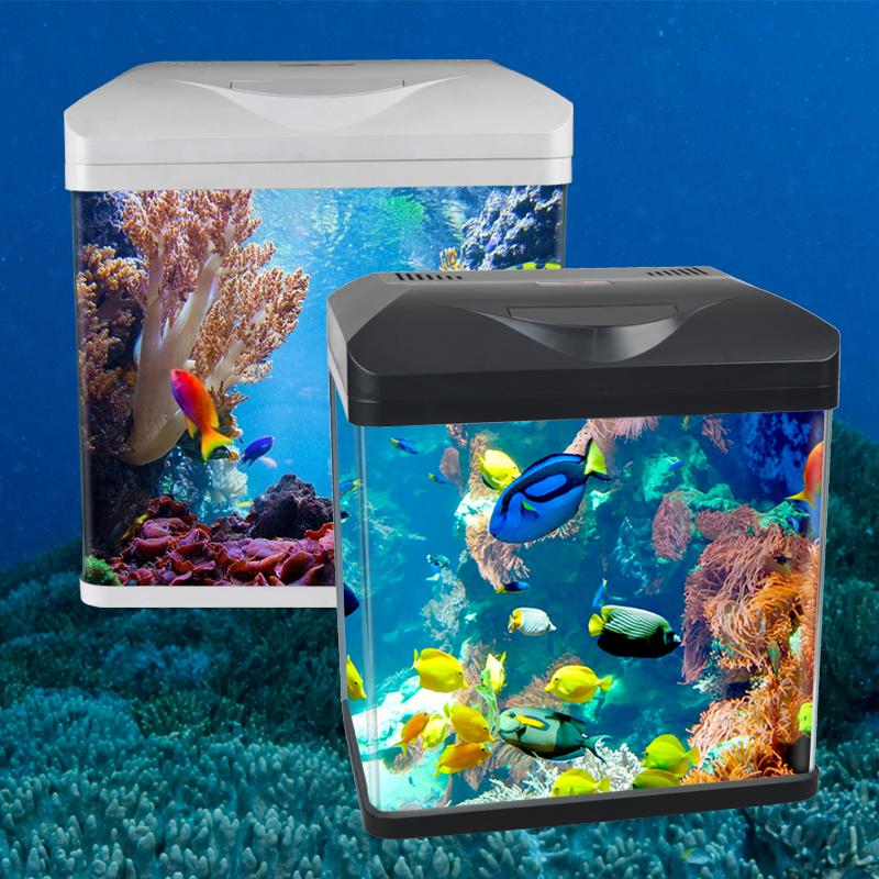 Mini Hd Glass Rectangular Home Desktop Creative Water Free Lazy Goldfish Tropical Fish Tank Promotion