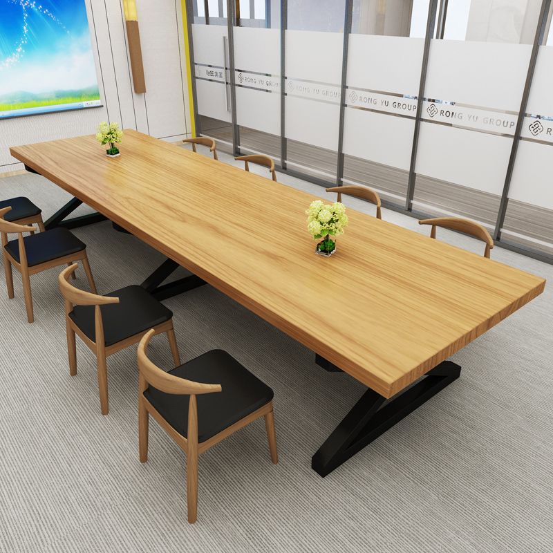 Loft Solid Wood Conference Table Long Table Desk Simple Modern Staff - Detachable conference table