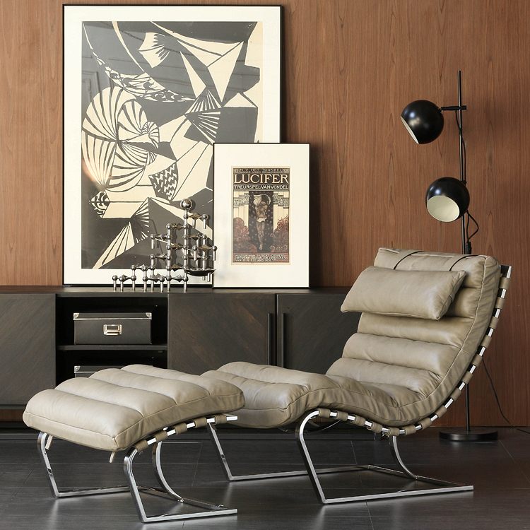 Nordic Import Head Leather/American Minimalist Vintage Industry/James Leather Lounge R.A./2 Colors