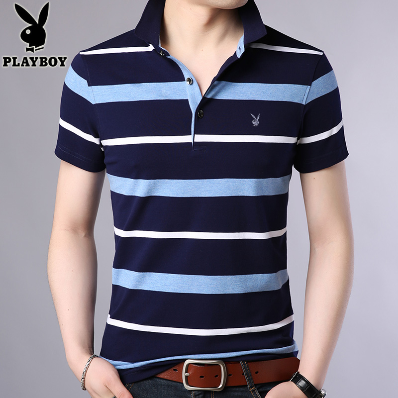 6c8d3d8b7dc2 Playboy summer men s short-sleeved T-shirt cotton lapel striped half-sleeved  T-shirt trendy men s clothing