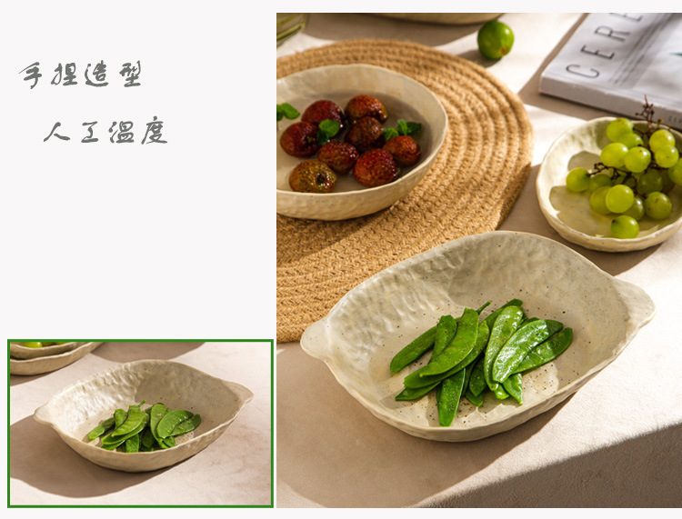 Jingdezhen hand knead dish plate Japanese ceramic checking household coarse pottery retro fish plate plate plate rice bowls