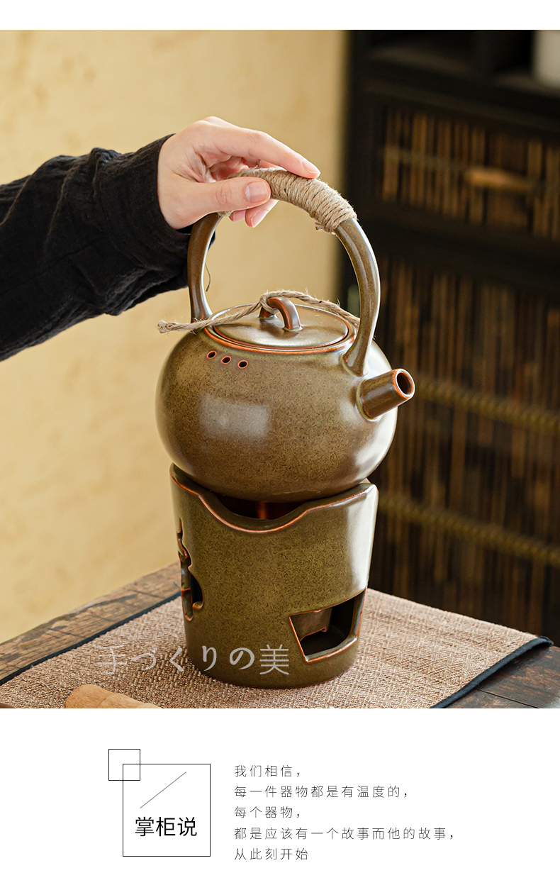 Japanese charcoal'm burning furnace girder pot of large tea stove olive charcoal stove fire boil tea complete ceramic zen kung fu tea set