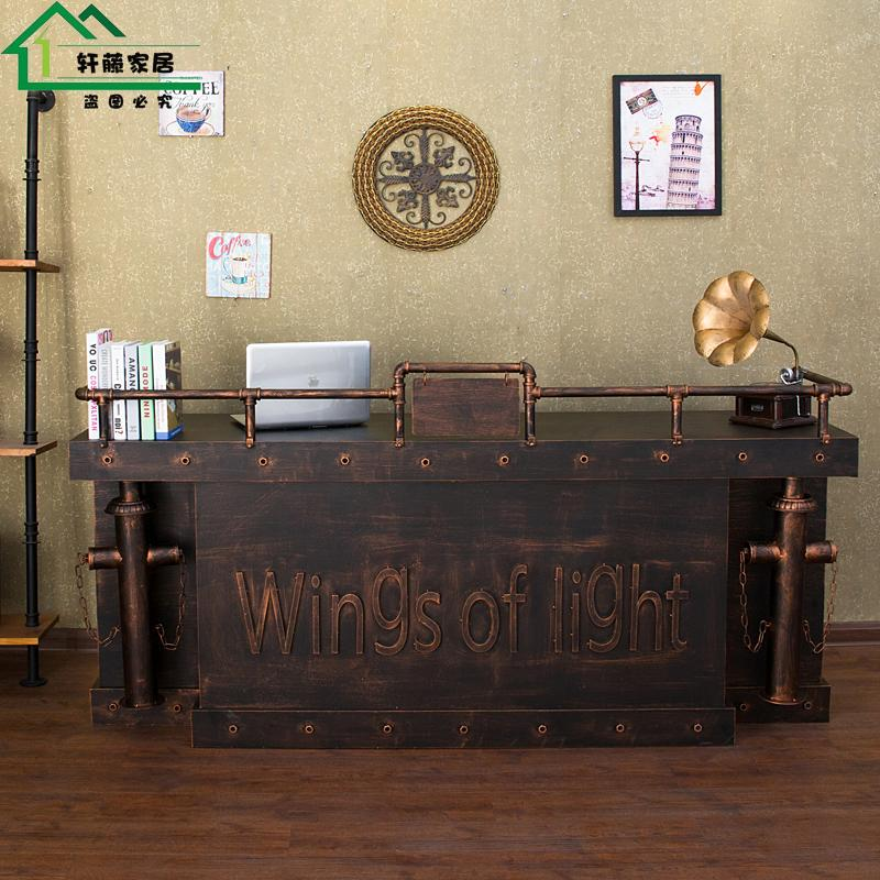 American Industrial Retro Wrought Iron Bar Bar Internet Cafe Hotel Front  Desk Clothing Store Checkout Counter Reception Desk