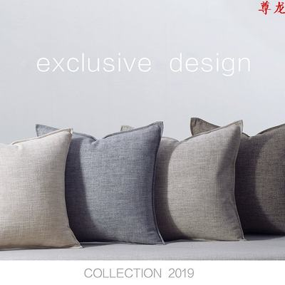Large Nordic solid color cotton linen sofa pillow cushion bed square pillow case living room modern minimalist style cloth