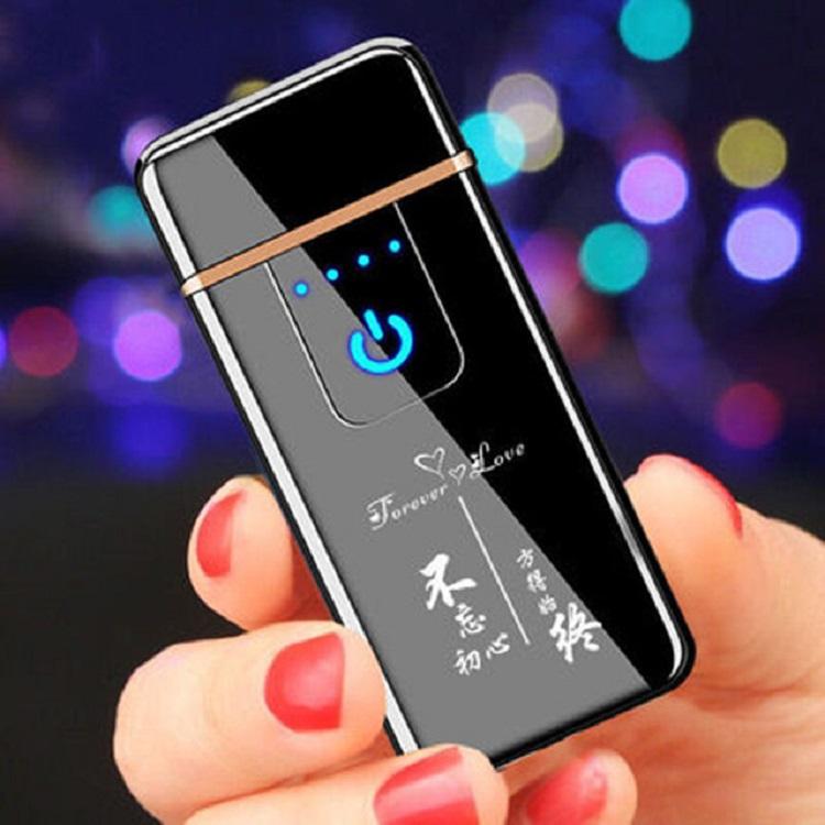 USB充电打火机男士个性创意触摸防风超薄双面点烟器送男友佳品