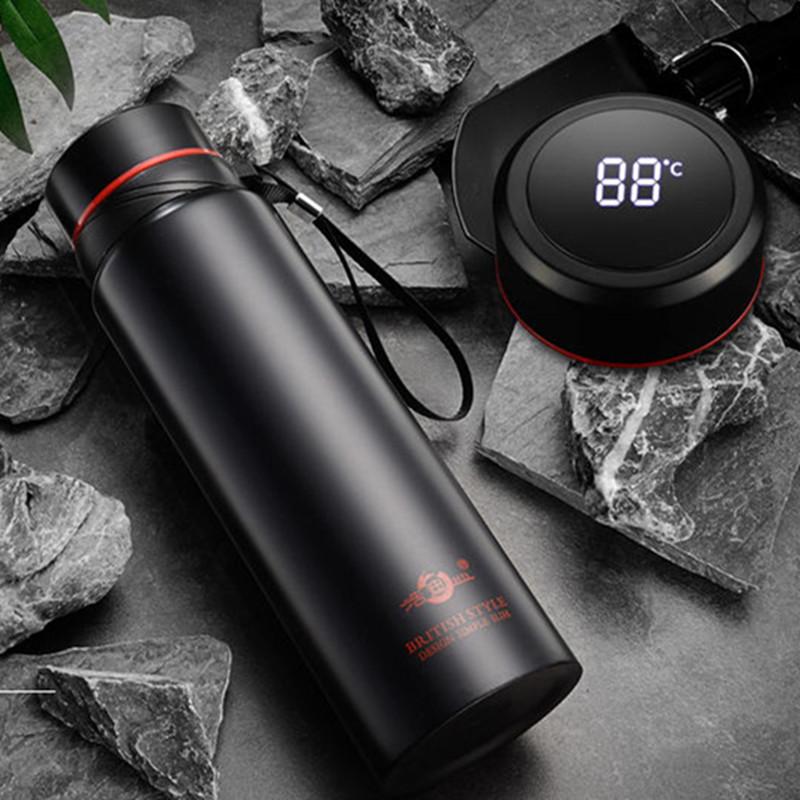浩迪304不锈钢大容量智能测温保温杯男女学生便携健身泡茶水杯子