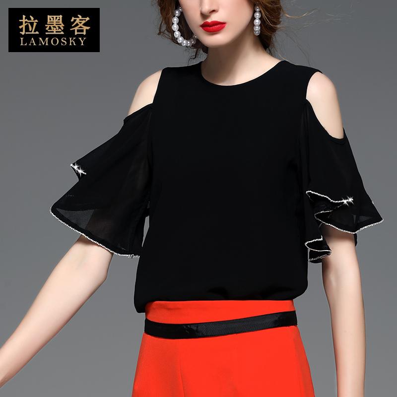 港风圆领v圆领感黑色荷叶袖性感个性减龄露肩上衣宽松夏装雪纺衫女
