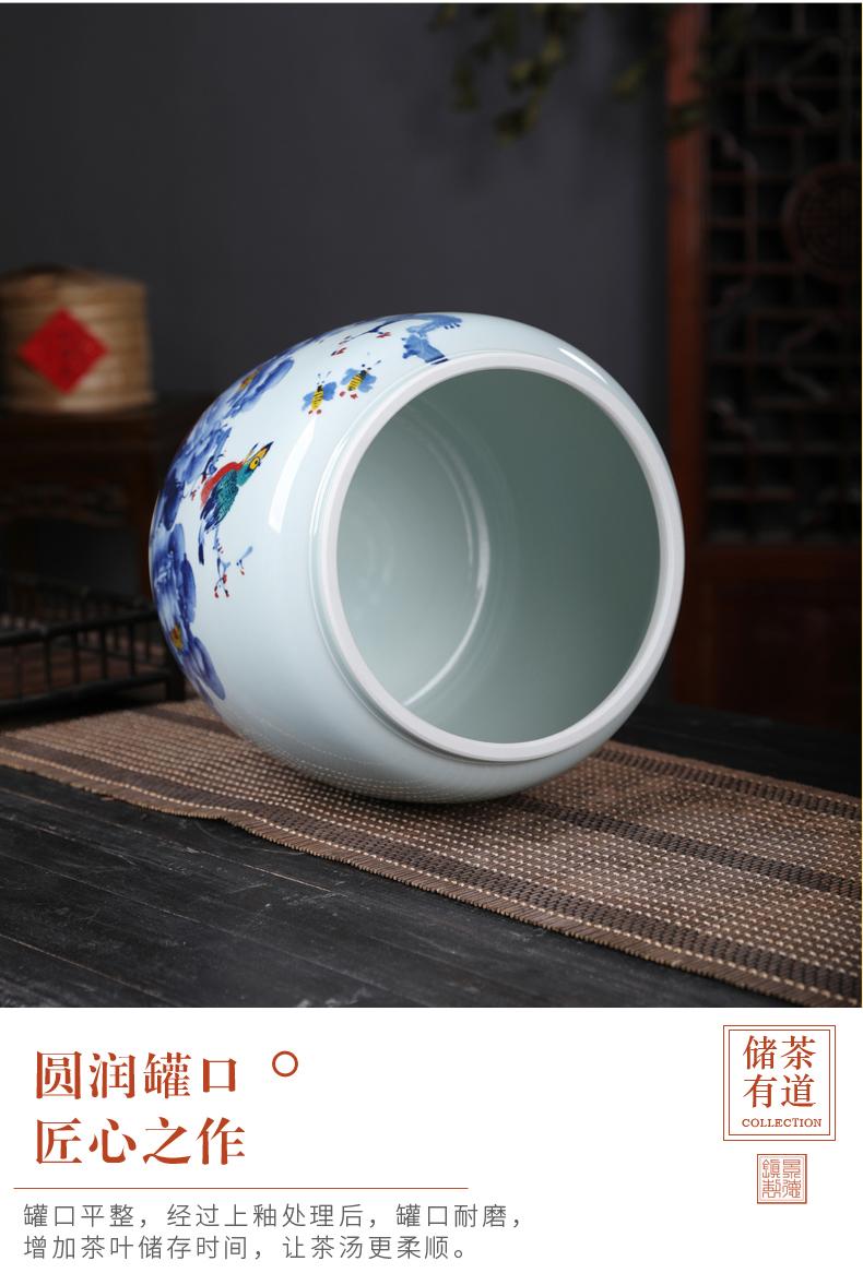 Seven loaves peony blue and white porcelain tea pot seal moisture puer tea boxes big tea cake store ceramic pot