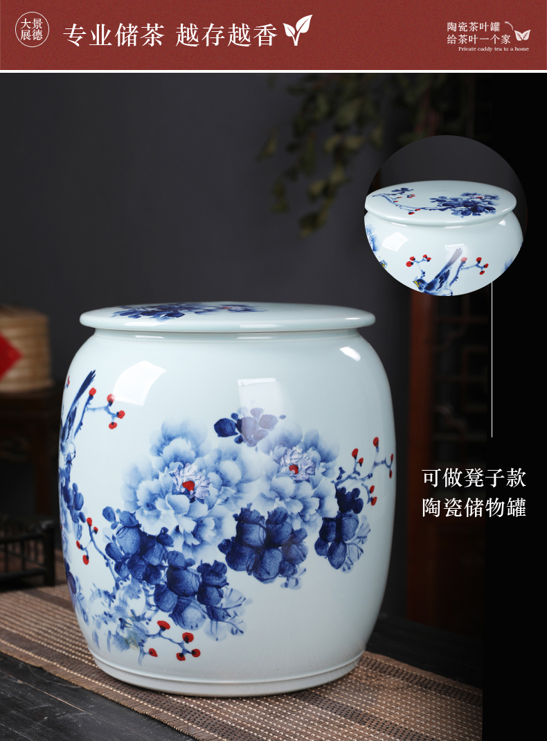 Hand made peony flowers and birds of blue and white porcelain tea pot queen with cover large capacity domestic king bulk storage tank