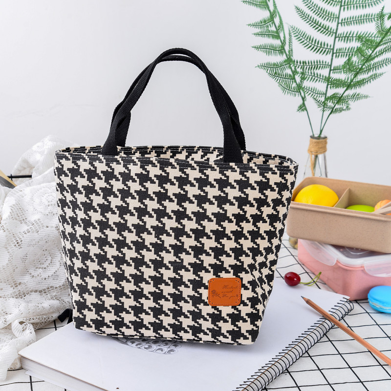 51fbc589c1 Houndstooth lunch bag lunch bag round square lunch box bag lunch ...
