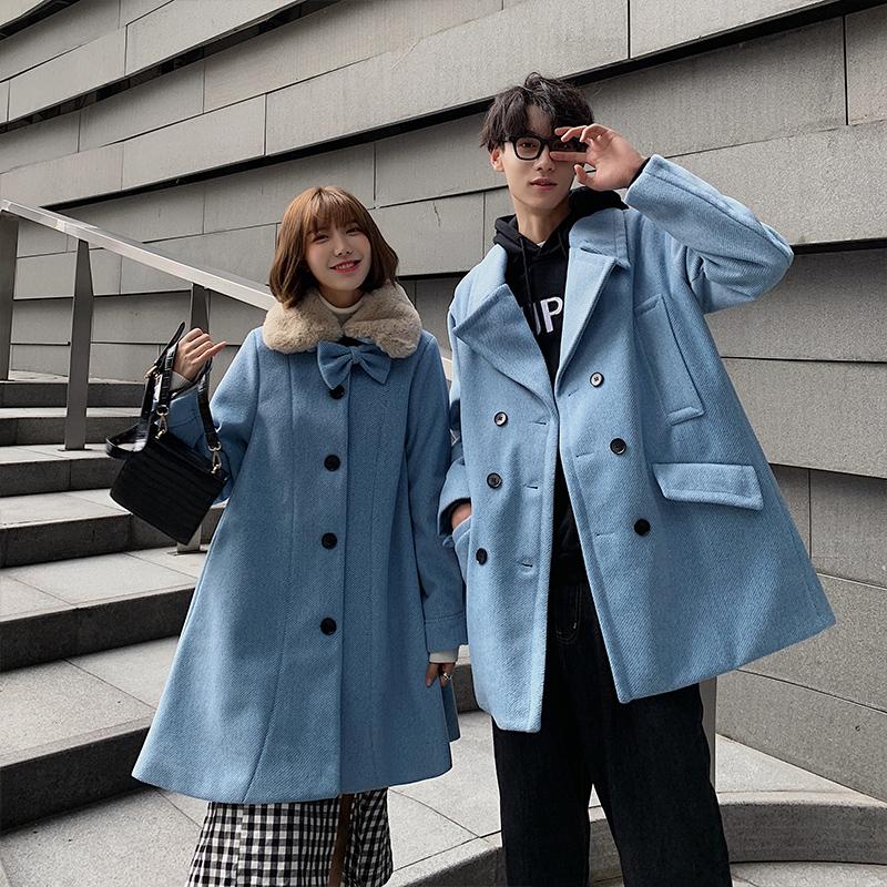 Mùa thu và mùa đông quần áo len lỏng đôi vợ chồng thời trang màu rắn len áo gió chàng trai và cô gái áo khoác dày màu xanh nhạt - Áo len