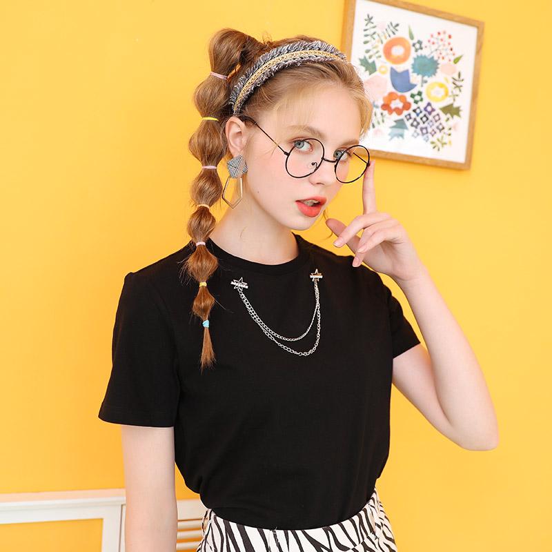 设计感小众短袖T恤女夏2021年新款黑色半袖上衣短款白色体桖潮牌(【库恩玛维】设计感小众短袖T恤)