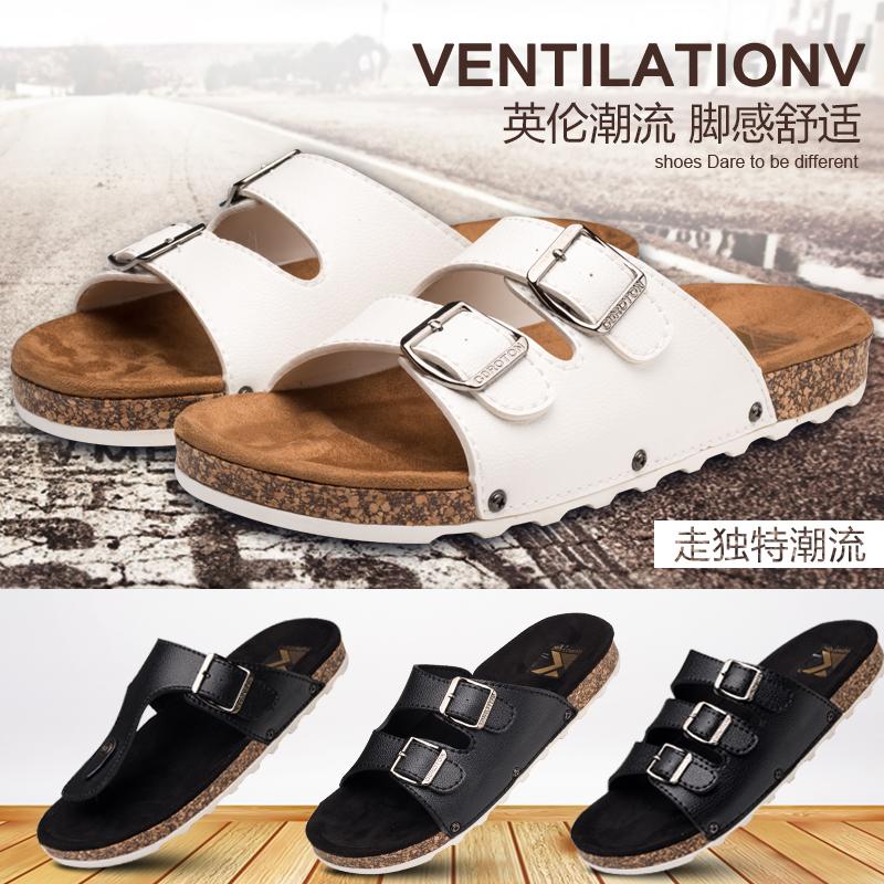 夏户外新款男士人字拖鞋凉拖夹脚防滑平跟凉鞋沙滩鞋大码软木拖鞋