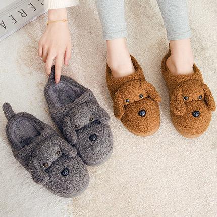 棉拖鞋女冬季包跟可爱2019新款室内居家用月子情侣毛拖鞋男冬天