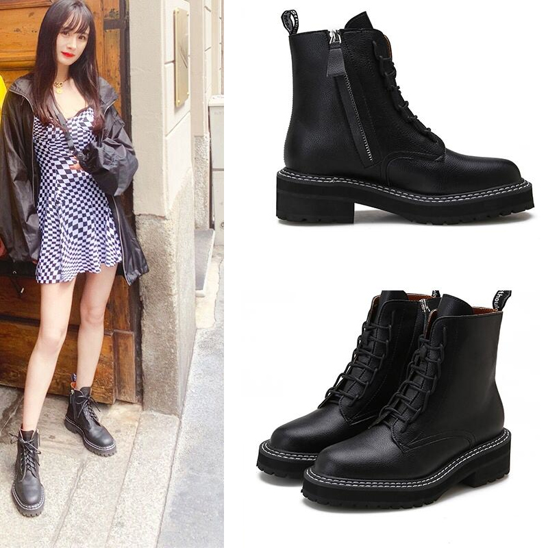 Yang Mi with the shoes Martin boots women 2019 summer breathable new British wind students increased handsome short boots