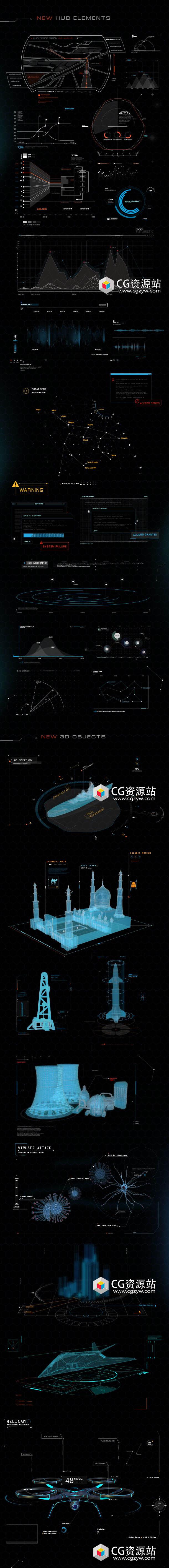 AE模板+脚本-高科技军事信息化动态元素包 Quantum HUD Infographic V2(更新)