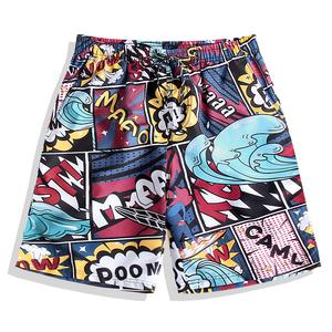 速干宽松沙滩裤男潮牌海边度假可下水情侣五分游泳裤套装花短裤女