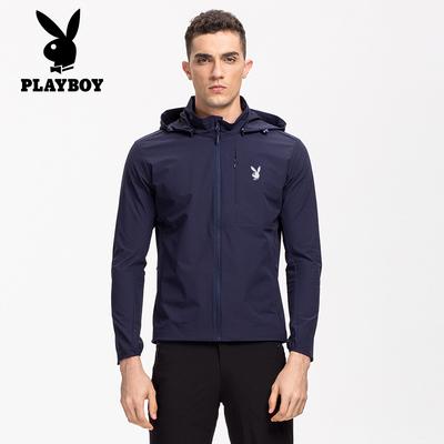 Playboy 2018 mùa xuân mới người đàn ông giản dị của ngoài trời áo gió xu hướng windproof không thấm nước thoáng khí áo khoác nam Áo gió