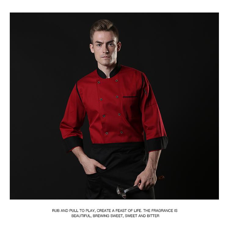 厨师工作服长袖加厚秋冬装酒店面包房餐饮厨房定制西餐厅男女衣服