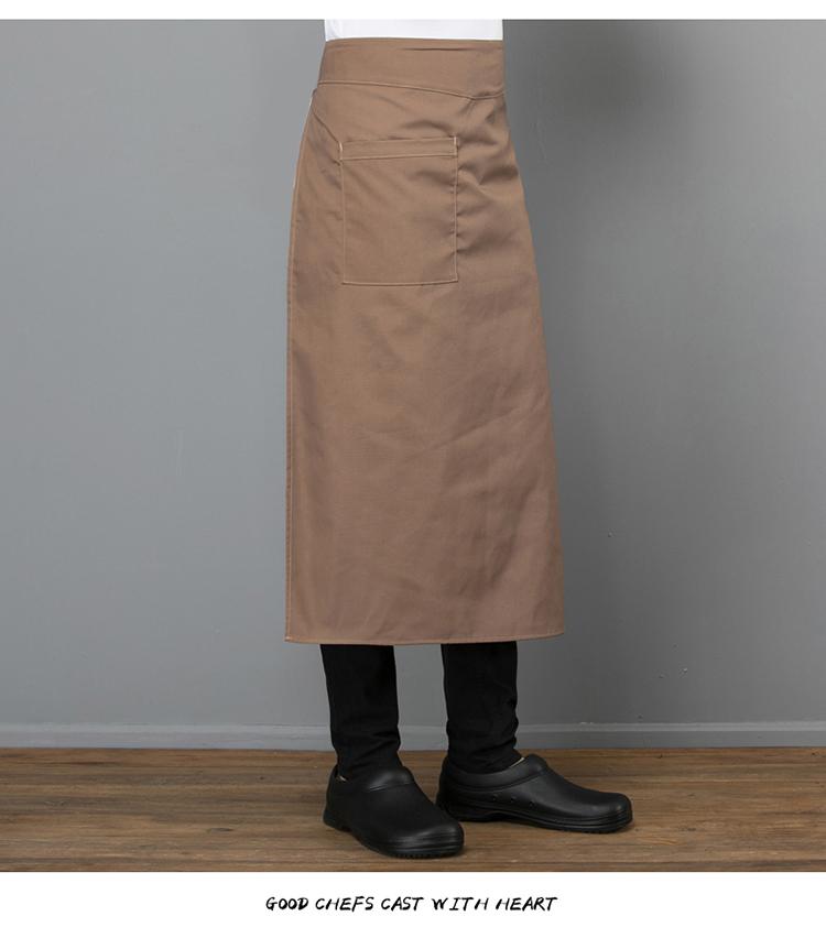 厨师围裙半身男酒店餐厅厨房厨师工作服围裙定制中长款大围裙