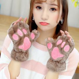 韩版半指可爱卡通秋冬猫爪情侣手套