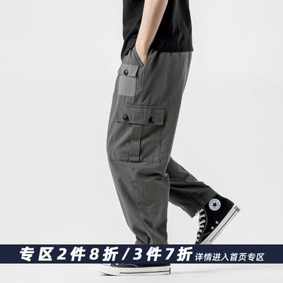 裤子男潮流口袋工装裤男 潮牌宽松日系夏季薄款九分裤男士休闲裤